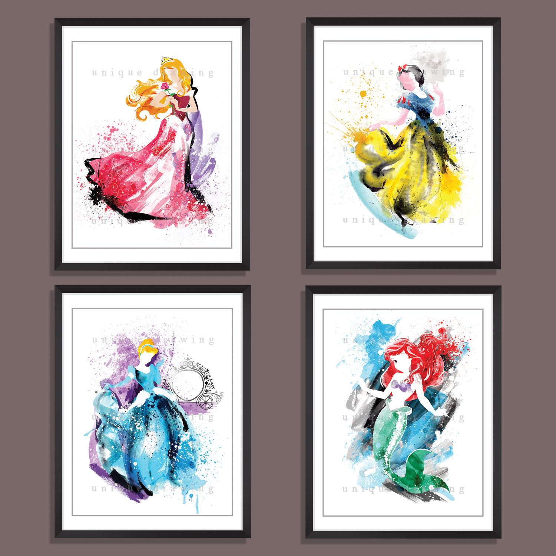 Disney Princesses Set 4 Prints Movie Poster Wall Deco Art Illustration Princess Movies