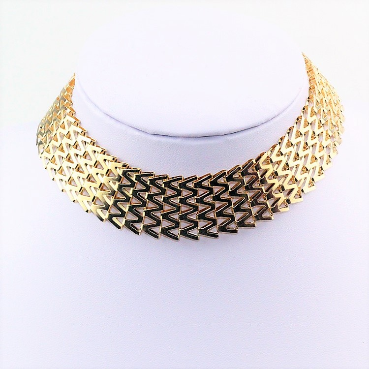 03bad9fbbf9c3 Elegant Edgy Mesh Thick Gold Wide Metal Adjustable Choker Collar Necklace