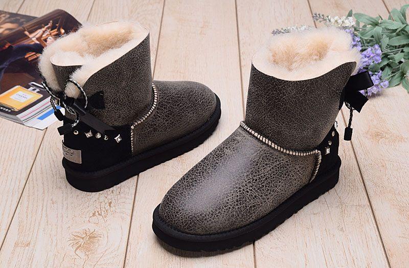 31cdaa9330a UGG Sheepskin One Snow Boot Diamond Bowknot Women's Shoes black from  supplier