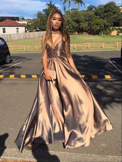 a81cd7bca Simple V-neck A Line Lone Prom Dresses Evening DressesHS146 on ...