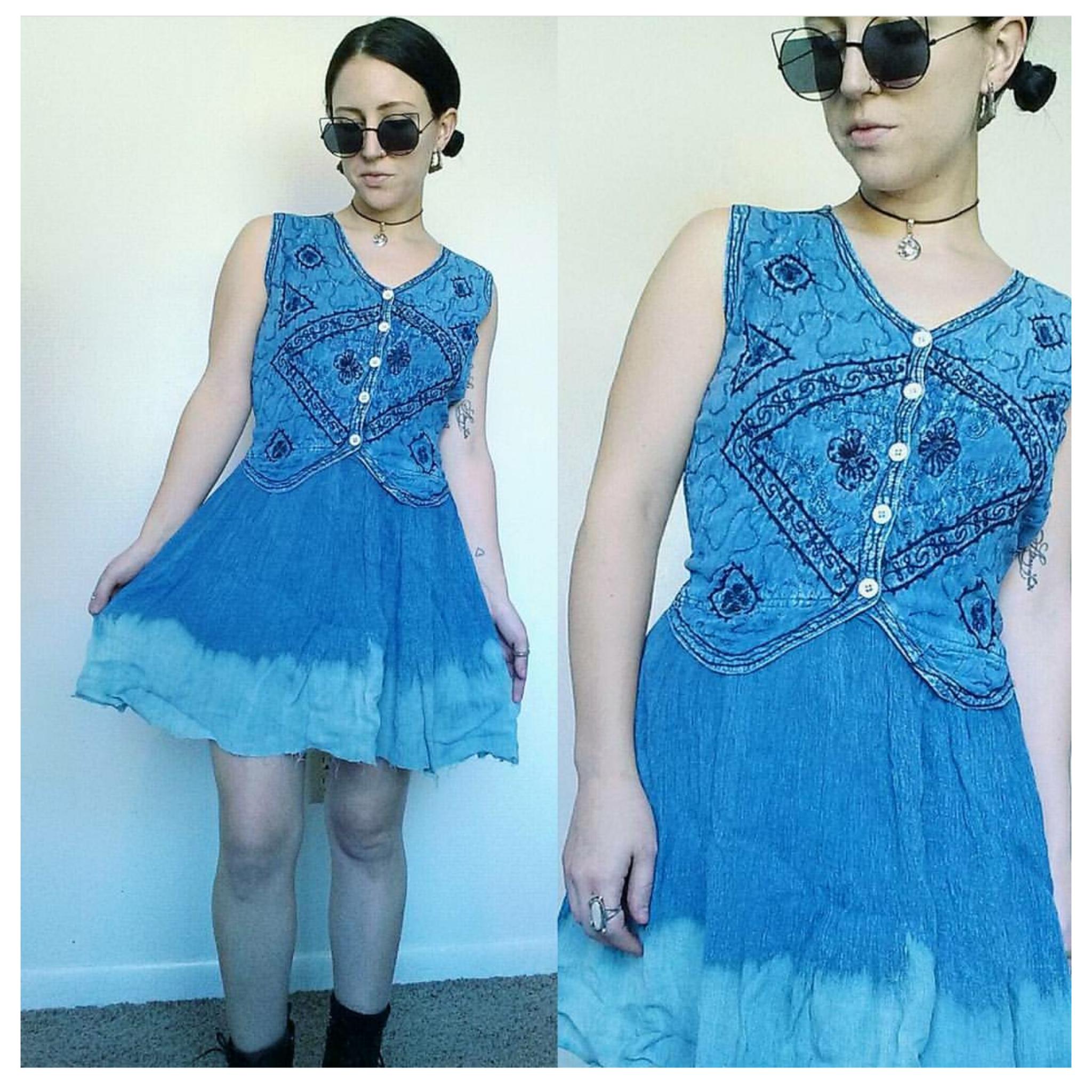 abd302efb1 90 s Tie Dye Embroidered Denim Dress - Vintage Small Bleached Denim ...