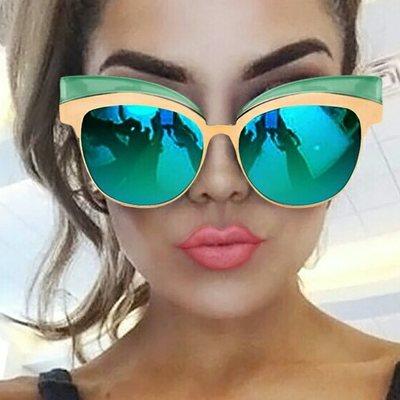 82a8aedfbc0 Coating mirror sunglasses for women gold cat eye shades high fashion oculos  feminino new cool designer