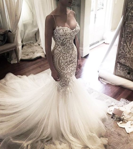 Spaghetti Straps Mermaid Long Ivory Lace Wedding Dresses,Wedding ...