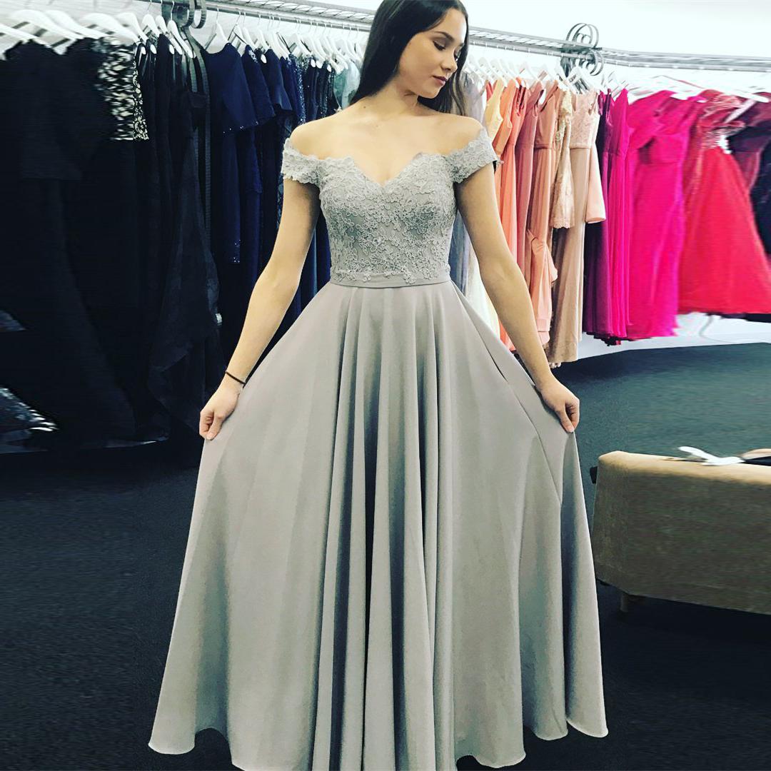 979a64e9de Silver Grey Off The Shoulder Prom Dress