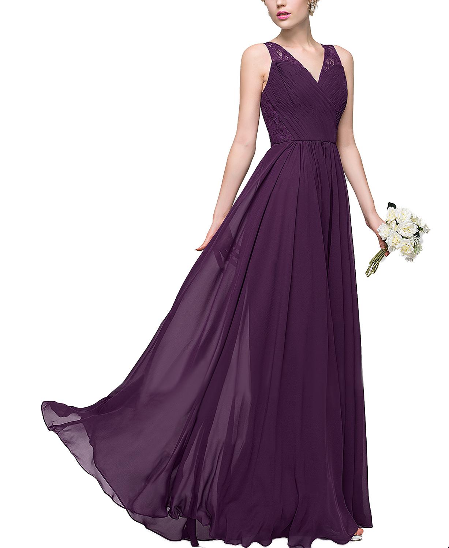 Top Lace A Line Princess V Neck Floor Length Chiffon Grape