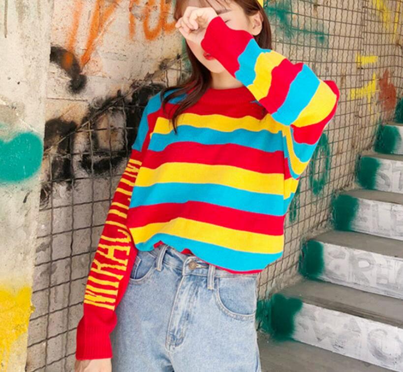 fce19b410a0f Rainbow Striped Knit Sweater on Storenvy
