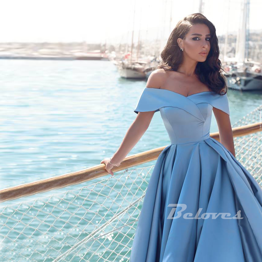 9b3c6ffa5d92 ... Light Blue Off The Shoulder Ball Gown Princess Prom Dress With Side Slit  - Thumbnail 2 ...