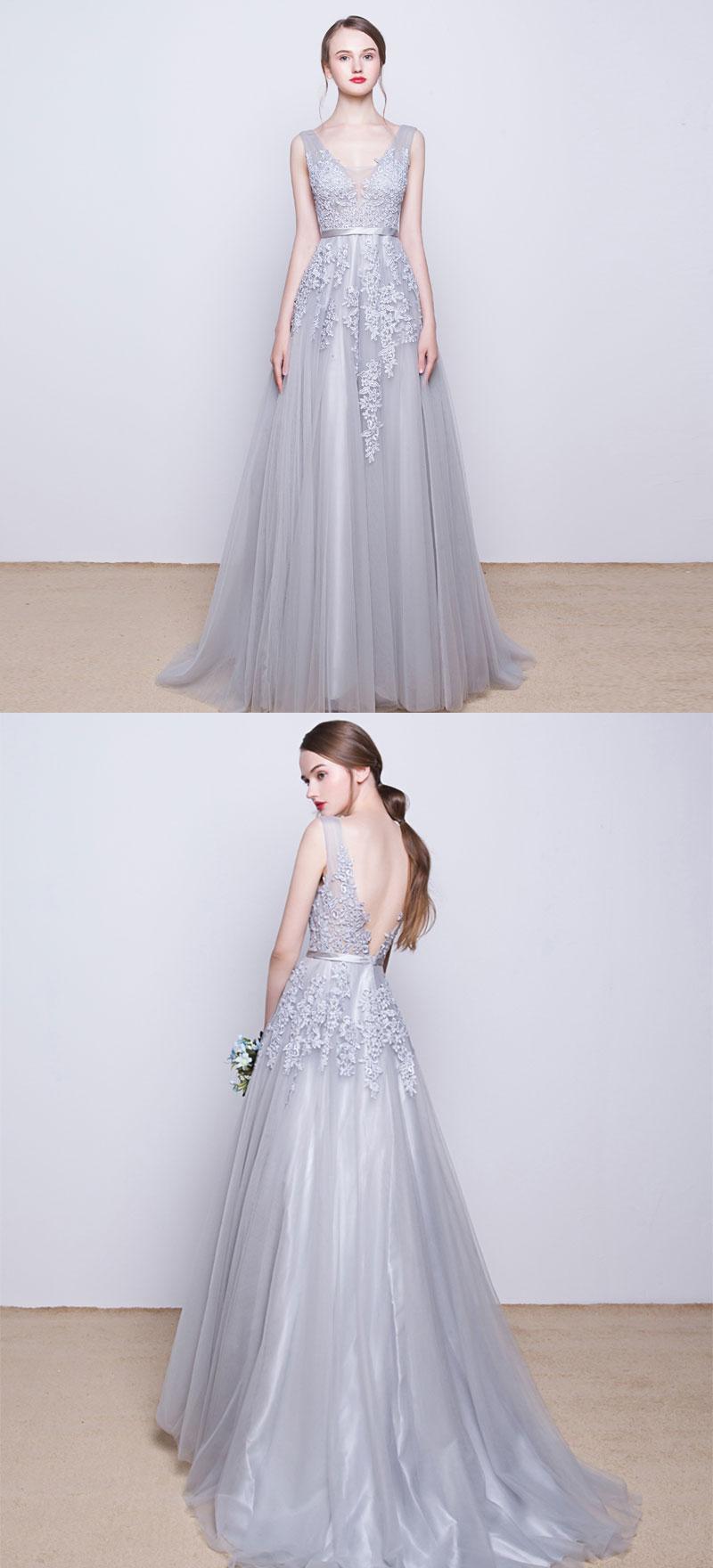 1acac1e654 ... Gray v neck tulle lace long prom dress
