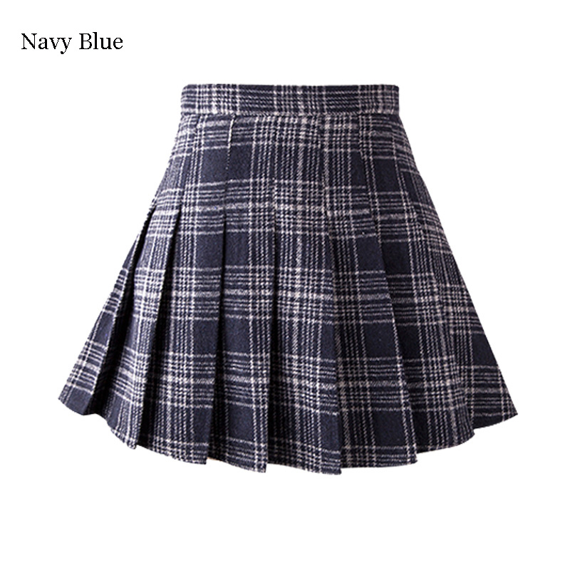 43ce966dc71 Winter Student Woolen Plaid Pleated Skirt on Storenvy