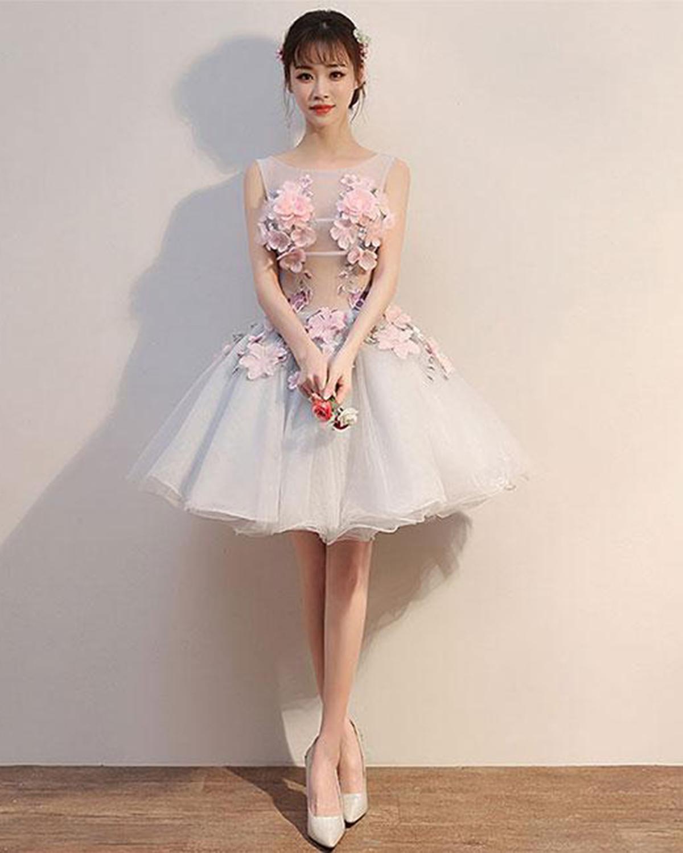 80e7a306d04 Cheap Prom Dresses by SweetheartDress · Gray tulle short 3D flower ...