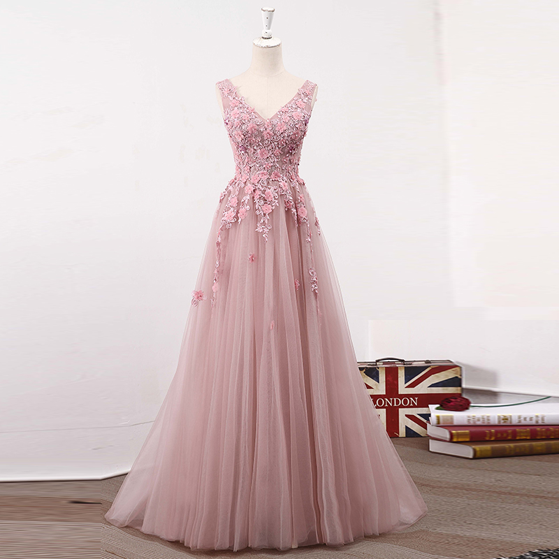 Blush Pink V Neckline Two Straps Lace Evening Prom Dresses, 2018 ...