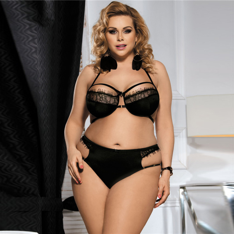 11a422c0d Sexy Erotic Lingerie Bra Set For Women Eyelash Lace Trim Strappy Two Piece  Plus Size Lingerie
