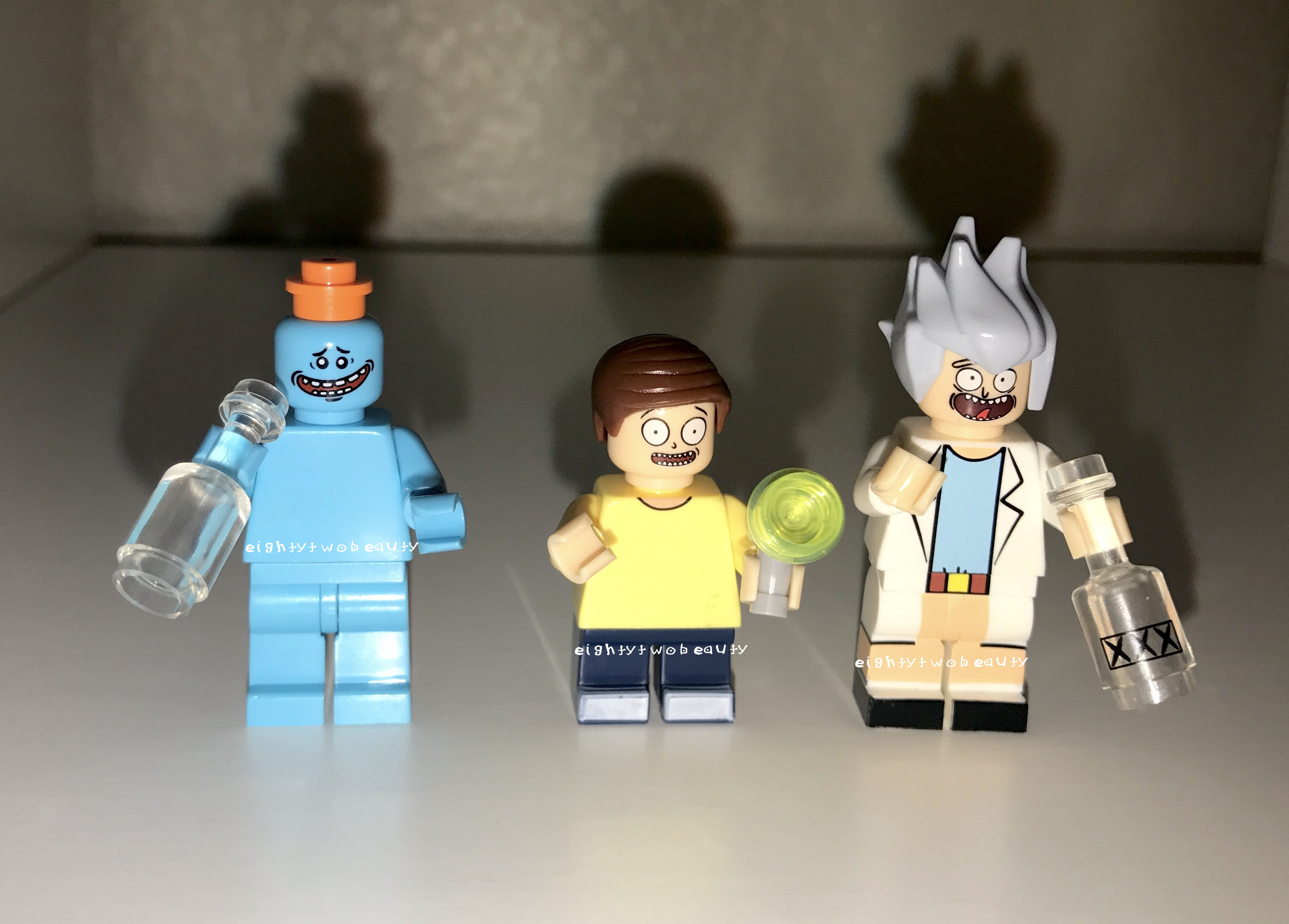 Custom Designed Minifigures Rick and Morty Printed on LEGO Parts