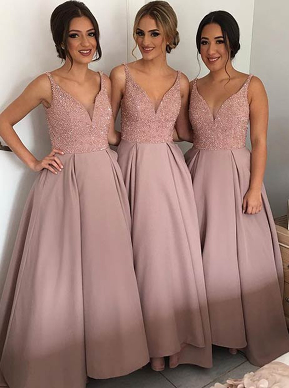 8acf498a37d Elegant A-Line V-Neck Long Dusty Rose Stain Bridesmaid Prom Dress with