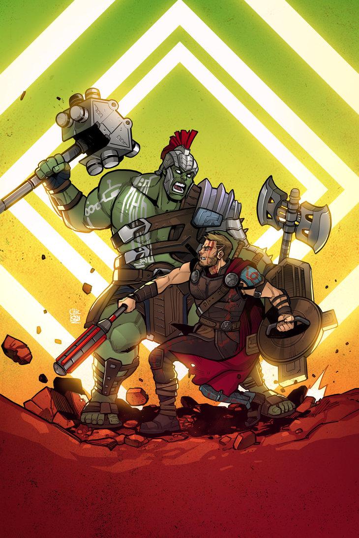 thor ragnarok thor hulk strongest avenger battle poster made to
