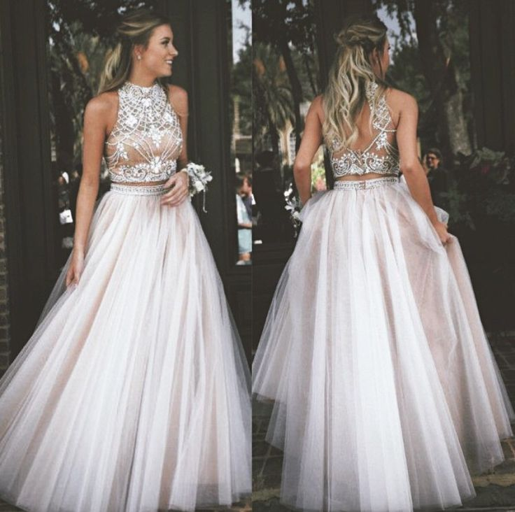 Two Piece Beaded Long Prom Dress,2017 Wedding Party Dress,Formal ...