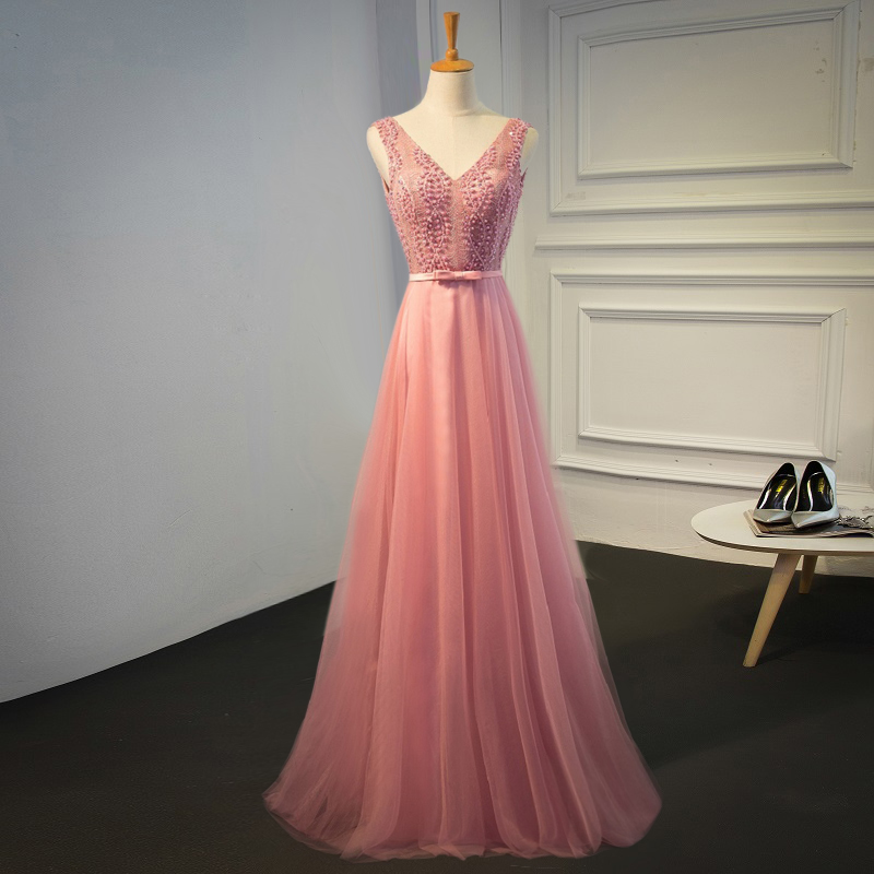 Sexy Beaded Pink Evening prom dress, long