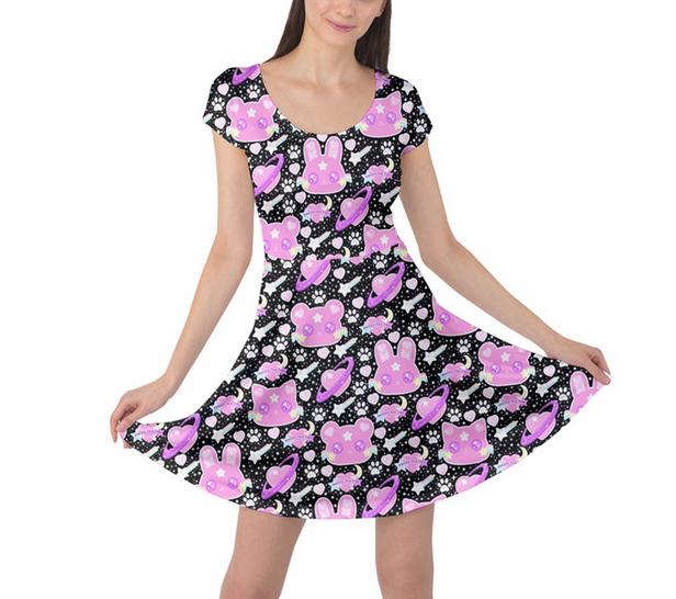 0f55da3befc6 ☆ Cosmic Cuties Black Sleeved Skater Dress