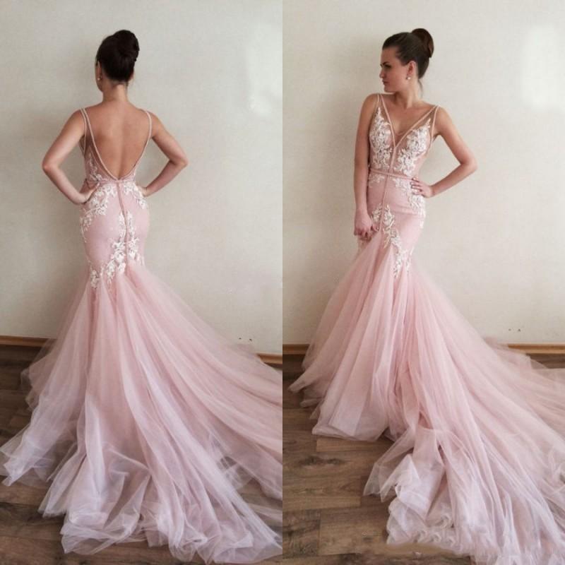 e28b542b80634e V Neck Sleeveless Formal Gown Pink
