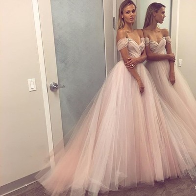 bec756a350e0 Light pink A line off shoulder tulle long prom dress