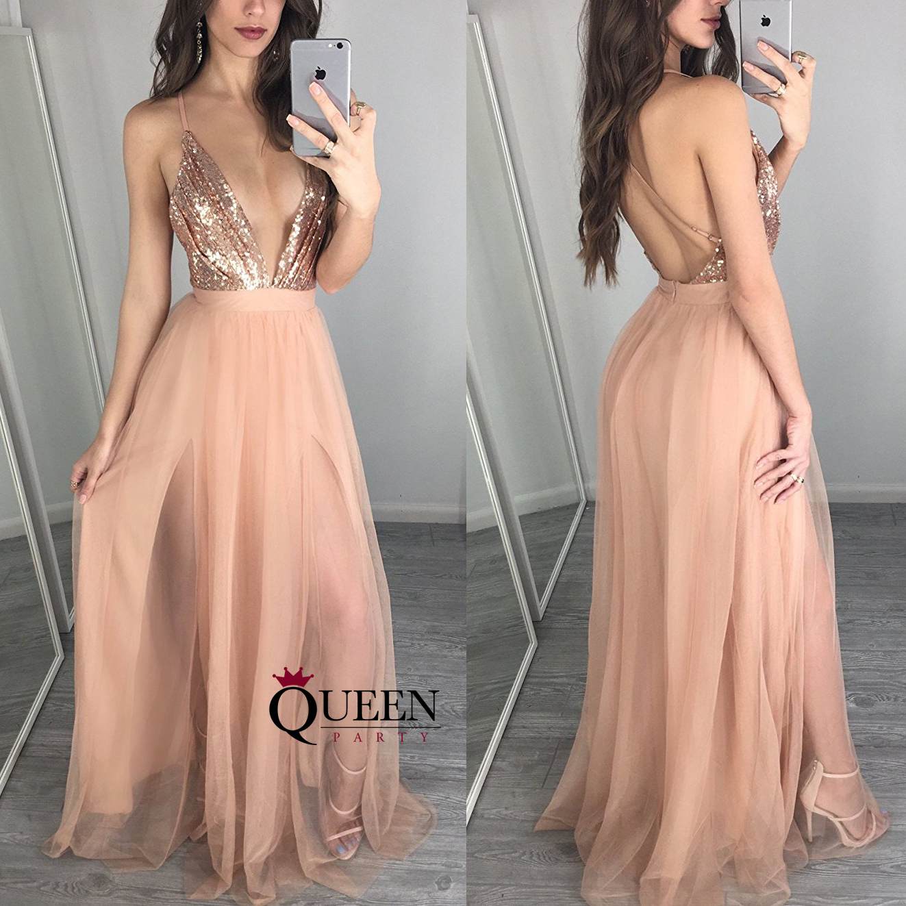 40d7a77c5f8 Sexy Champagne Tulle Spaghetti Strap Deep V-neck Sequins Bodice Formal Gown  With Open Back