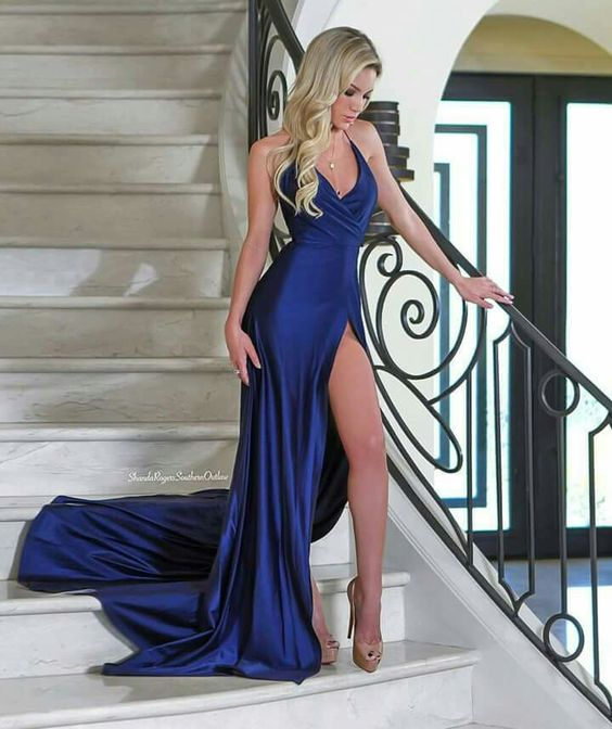 2018 Sexy V Neck Stretch Satin Party Banquet Dress Prom Dresses
