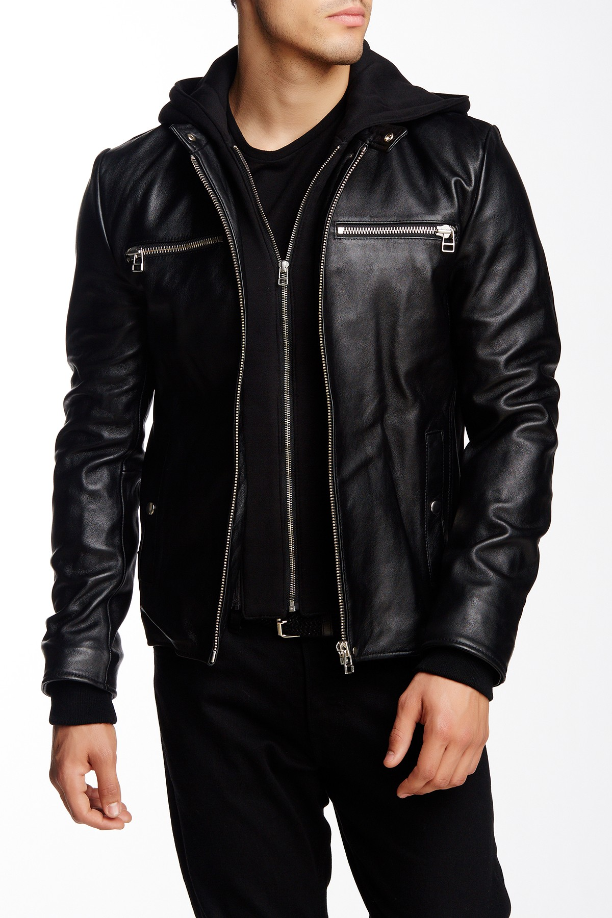 0599a40c2 Men Black Detachable Fabric Hooded Leather Jacket, Biker Leather Jacket Men  from Rangoli Collection