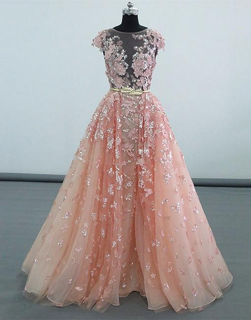 Stunning A Line Jewel Pink Tulle Long Promevening Dress With