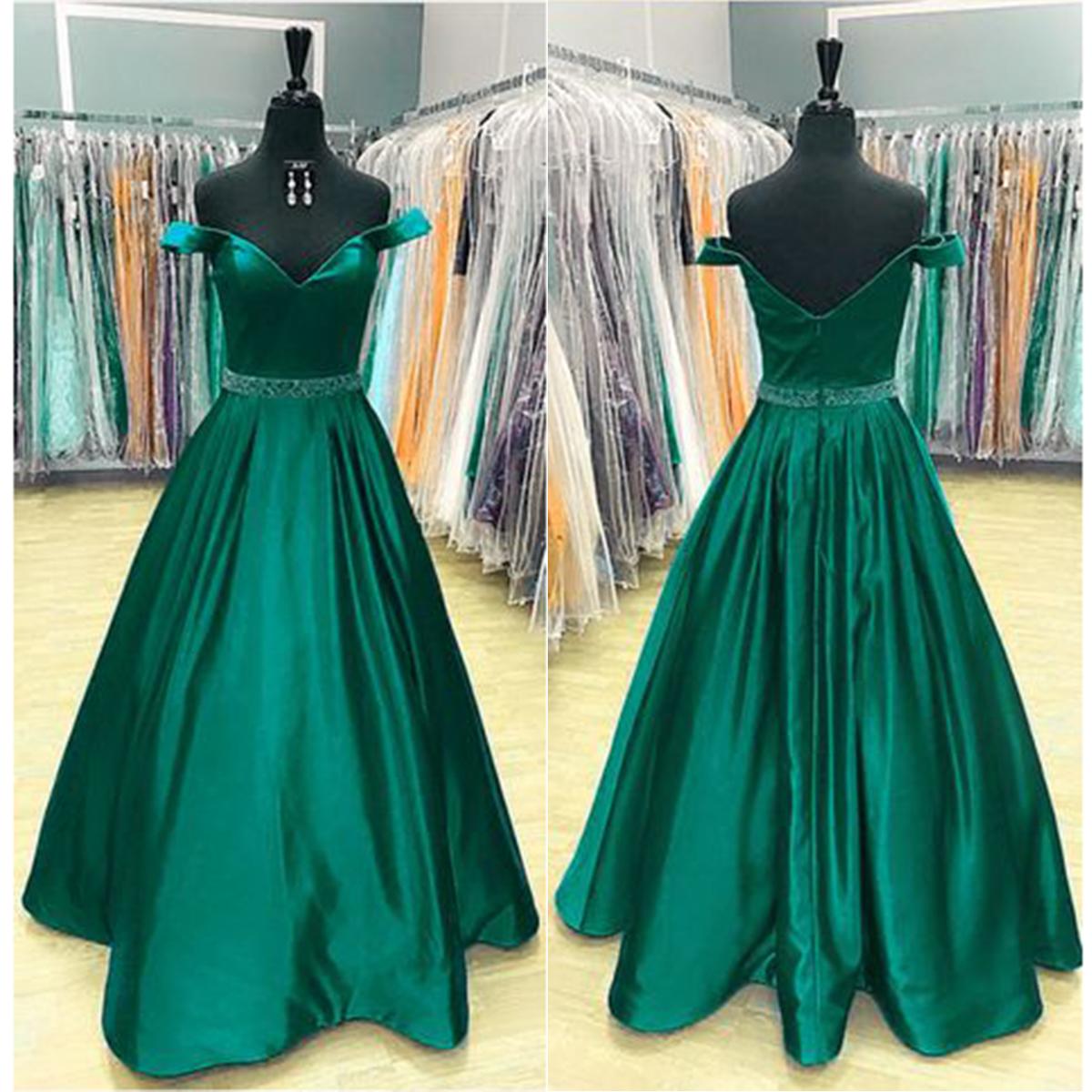 f9e9b50796d 2018 spring deep green satin off shoulder V neck long beaded belt sweet 16 prom  dresses
