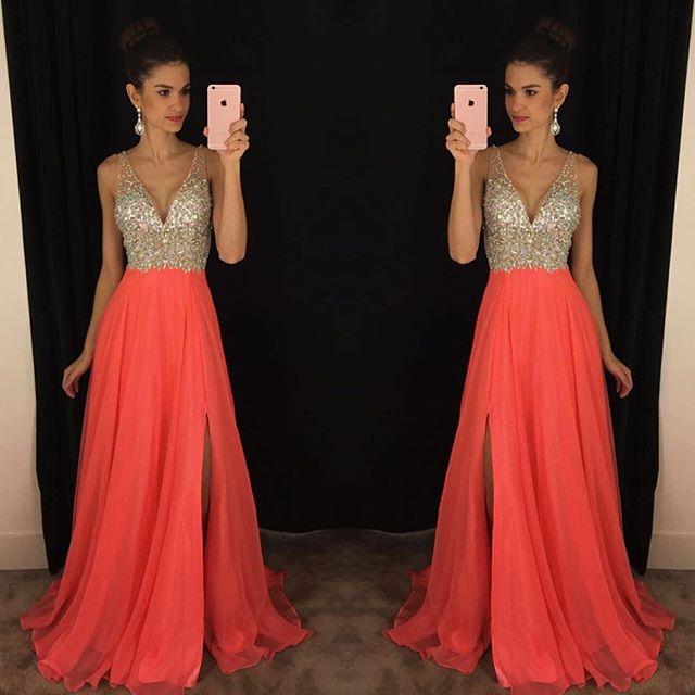 75b21b9b69 2019 Chiffon Long V Neck Crystals Side Split Prom Dresses ...