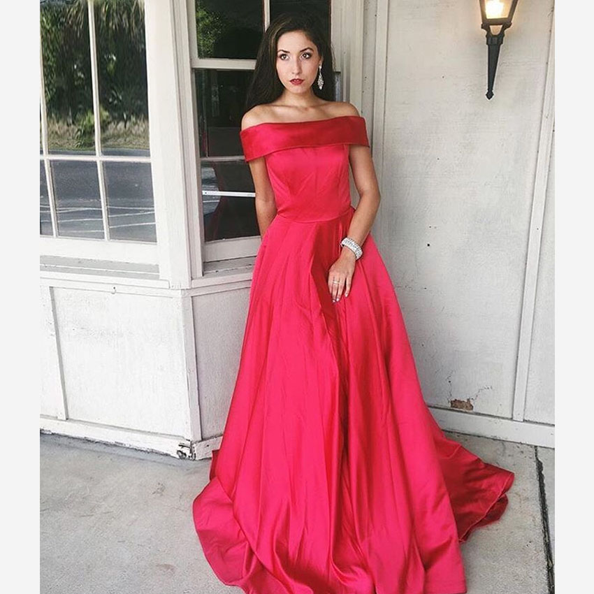 88ffdd2945 Fuchsia Off The Shoulder Satin A Line Prom Dress, Formal Gown With Pockets  - Thumbnail ...