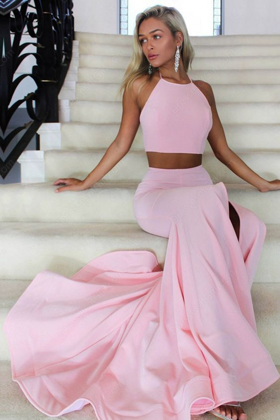 a4b439ed97d 2019 Mermaid Backless Long Two Piece Prom Dresses · MychicDress ...