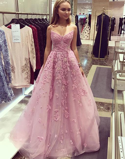 960fb0bbf315 Fancy A-Line Sweetheart Pink Tulle Prom/Evening Dress with Lace Appliques
