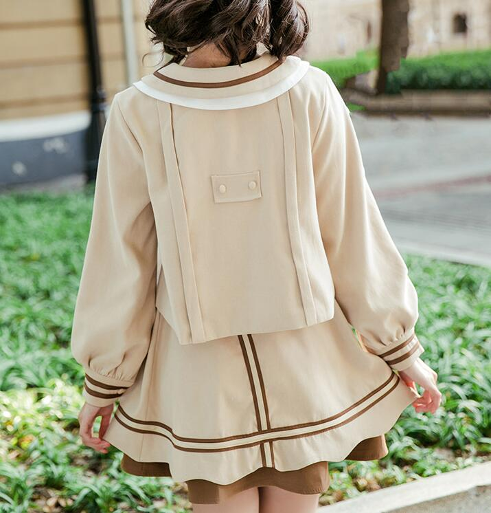 Free dhl shipping beige brown lolita sailor uniform set for Spa uniform norge