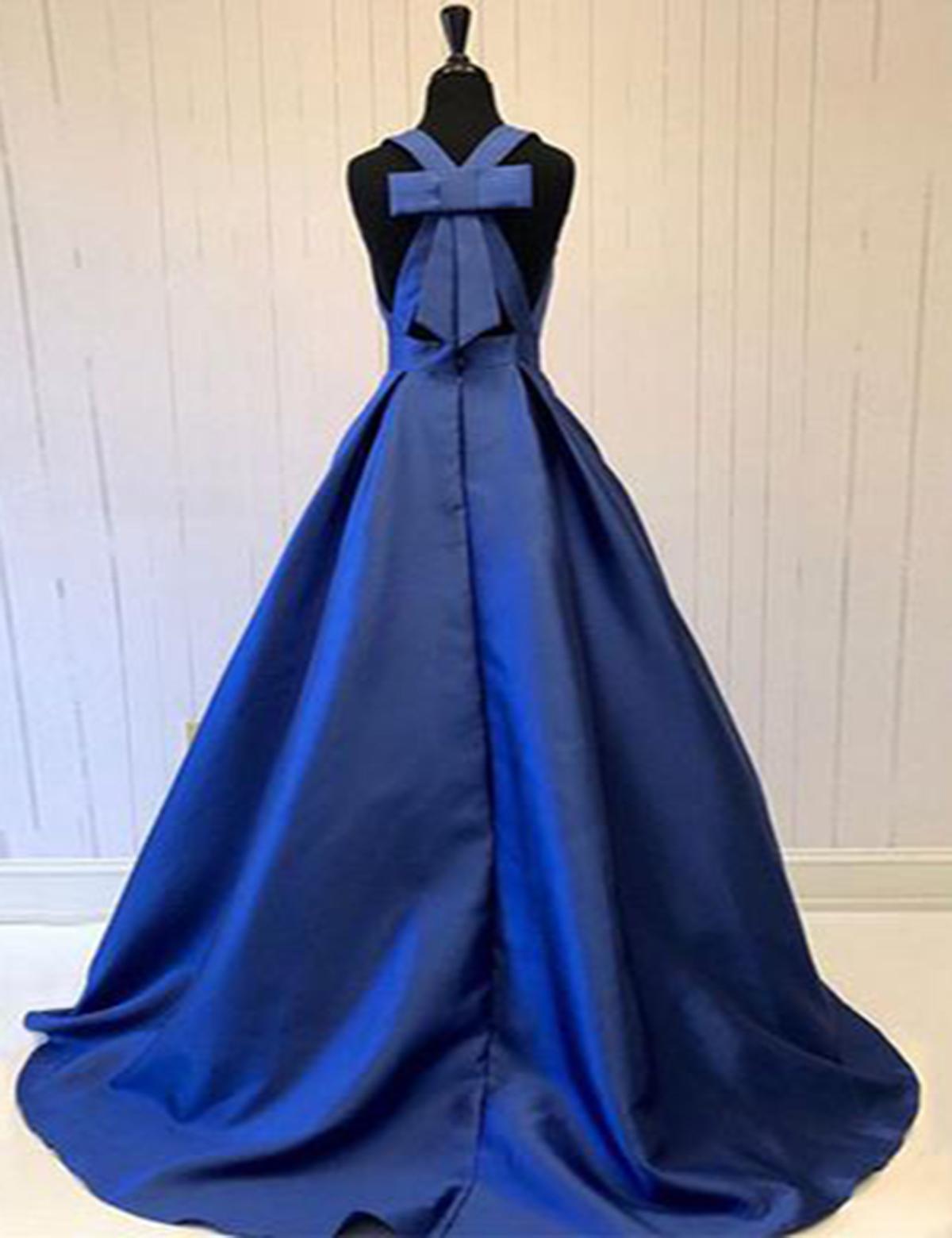 35e91b696d Royal blue deep V neck long open back bowknot sweet 16 prom dress -  Thumbnail 1 ...