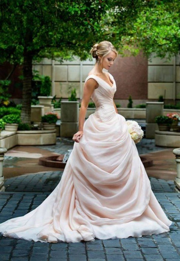 Blush Pink Wedding Dresses Princess V neckline Ruffled Organza ...