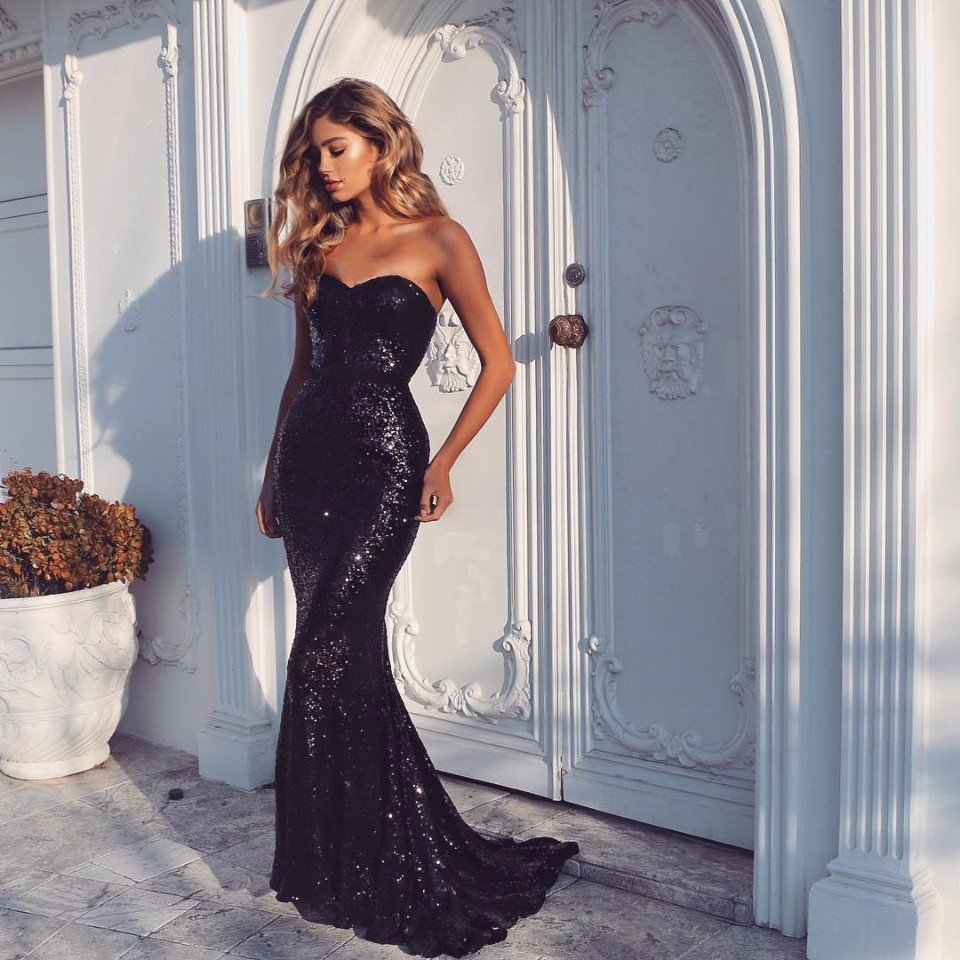 b409c5630a9 Sexy Sweetheart Mermaid Black Sequin Prom Dress 2019 · MychicDress ...