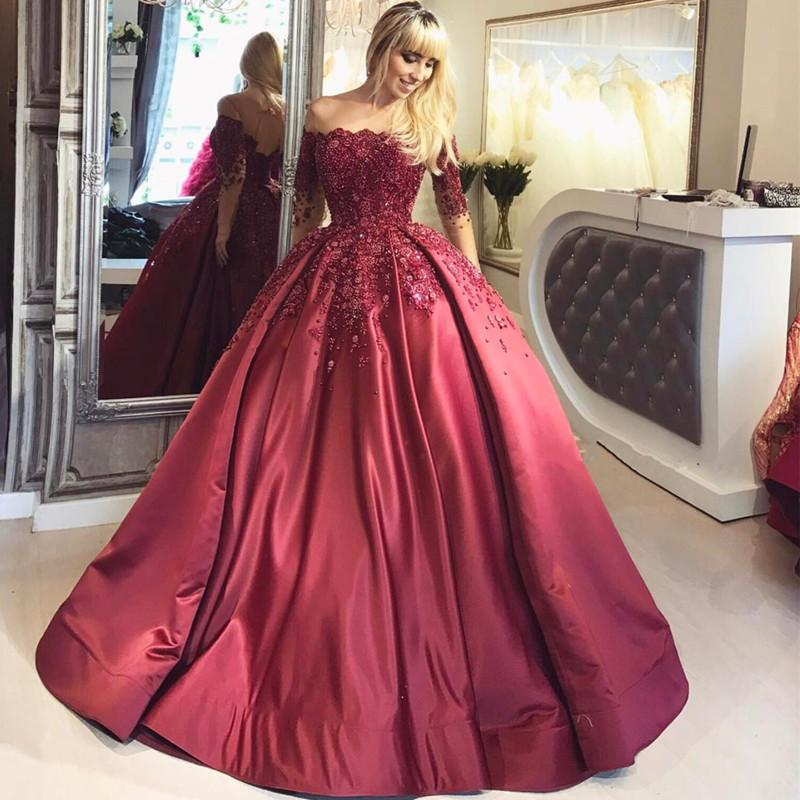 f9dfd13a231 2018 Dark Red Lace Long Sleeve Prom Dress