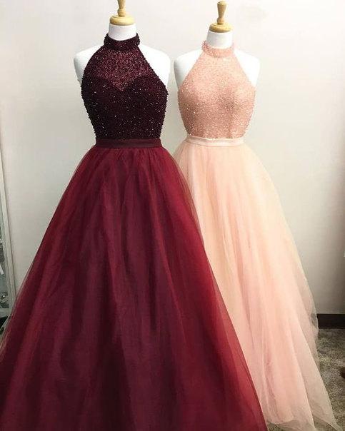 Elegant High Neck Burgundy Pink Long Prom Dresses With