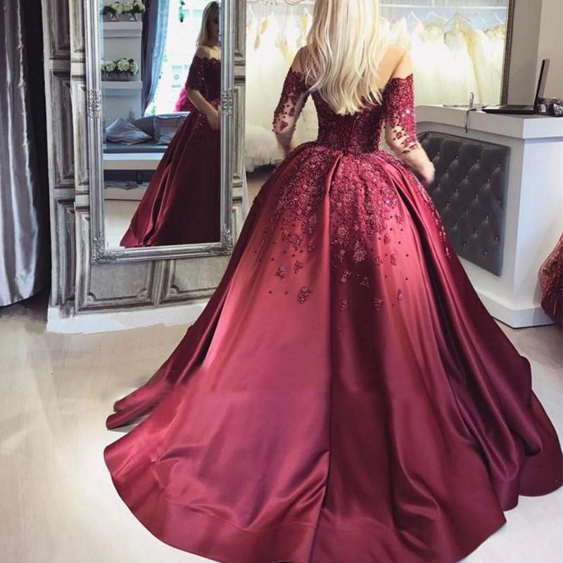 128d18f093 Glamorous Ball Gown Off-The-Shoulder Long Sleeves Burgundy Prom Evening  Dress With ...