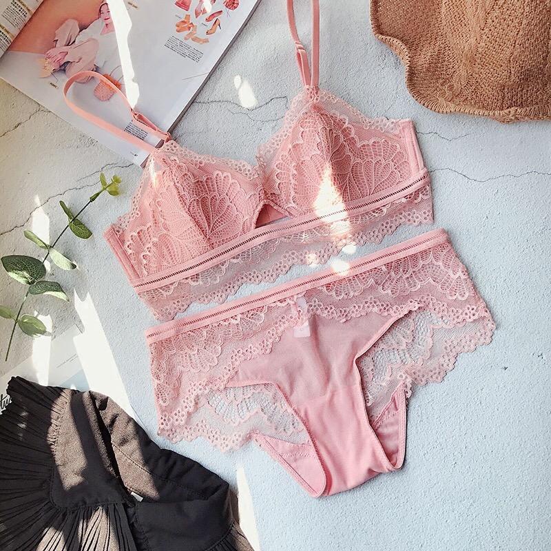 0fecd62d707cc pink soft lace lingerie set