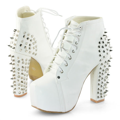 White Spiked Lita Inspired Booties On Storenvy