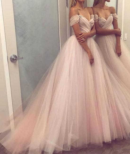 Stylish A-Line Off-the-Shoulder Tulle Long Evening/Wedding dress ...