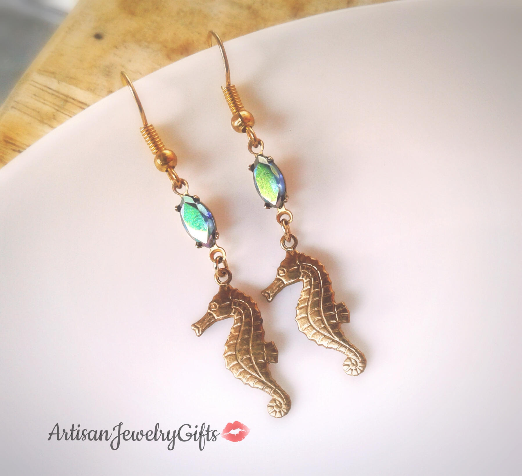 54355614e Gold Seahorse Earrings Rainbow Gem Earrings Naitical Earrings Gold Sea  Horse Earrings Rare Antique Gem Earrings