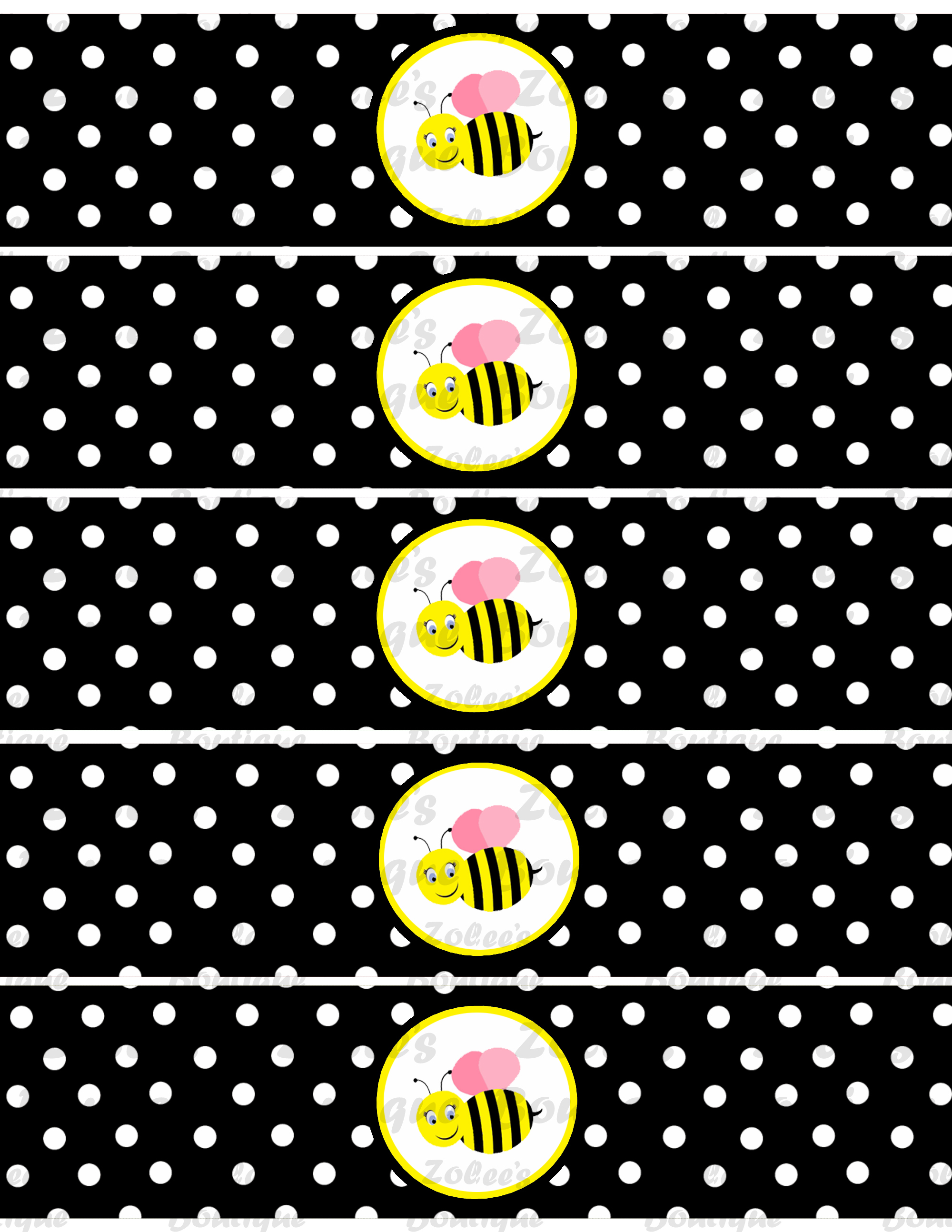 bumble bee theme black printable party package on storenvy