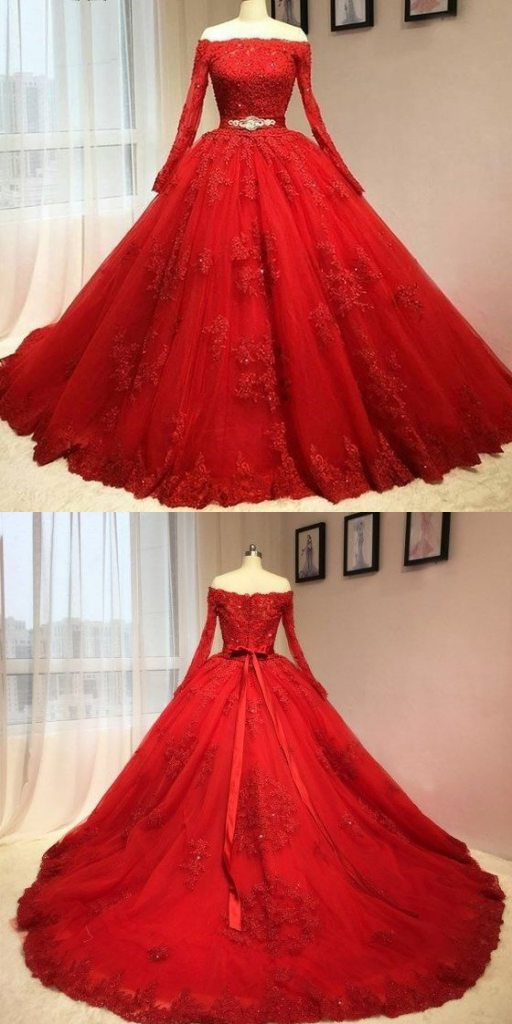 Ball Gown Off Shoulder Long Sleeves Red Lace Wedding Dress · Sanct ...