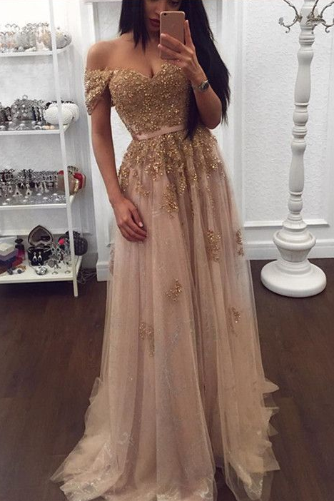 c48ce79a7e Gold Applique Off Shoulder Beading Long Tulle Prom Dresses