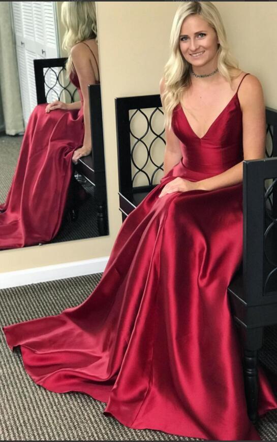 3eaac017efd Straps V neck Burgundy Long Prom Dress · modsele · Online Store ...
