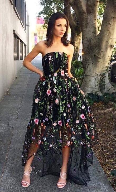 b50ba22615e0 Gorgeous Strapless High Low Black Floral Embroidery Long Prom Dress ...