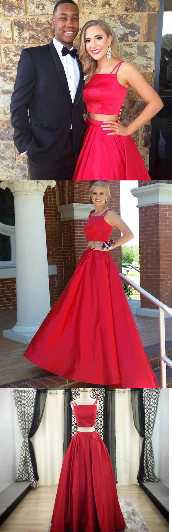 07425804866 Simple Two Piece Prom Dress